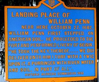 New Castle, Delaware - William Penn Historic Marker