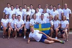 Det svenske U24-landslaget på indvielsen af VM 2013 i Szeged.