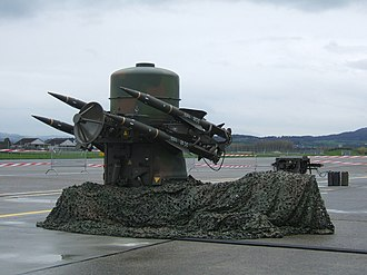 Rapier (missile) - A Swiss Air Force Rapier SAM installation with the detached generator set sited approximately 20 metres from the launcher. Fuel is being supplied to the generator from one of the three jerrycans grouped adjacent to it (one in use and two spare).