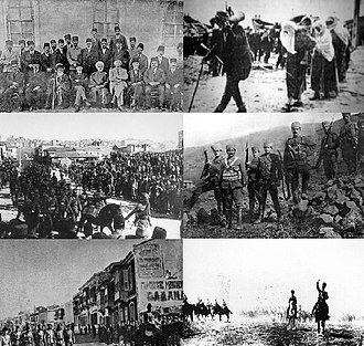 Turkish War of Independence - Clockwise from top left: Delegation gathered in Sivas Congress to determine the objectives of the National Struggle; Turkish people carrying ammunition to the front; Kuva-yi Milliye infantry; Turkish horse cavalry in chase; The Turkish army entering Izmir; last troops gathered in Ankara Ulus Square leaving for the front.
