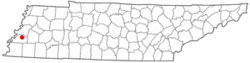 Location of Covington, Tennessee