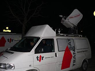 Télévision Suisse Romande - A TSR news van.