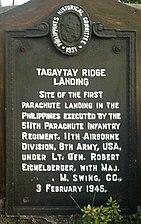 TagaytayRidge HistoricalMarker TagaytayCity.jpg