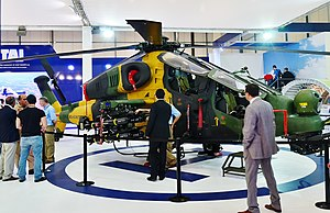 Turkish Aerospace Industries - T129 ATAK helicopter of the Turkish Army at the stand of TAI during the IDEF 2015