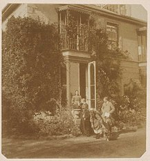 Vanessa, Julia, Virginia and Thoby Stephen photographed outside Talland House in the summer of 1894. This would be their last summer in St Ives