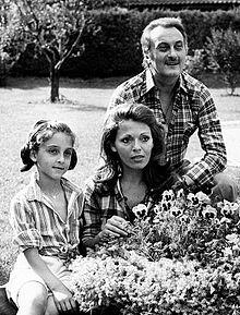 Valeria Fabrizi con il marito Tata Giacobetti e la figlia Giorgia nel 1970