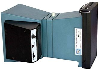 Oscilloscope types - Tektronix Model C-5A Oscilloscope Camera with Polaroid instant film pack back.