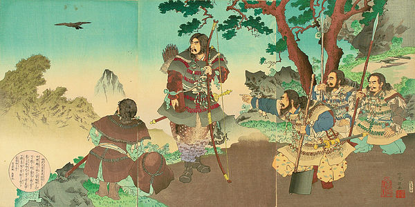 Yatagarasu guides Emperor Jimmu towards the plain of Yamato. Tenno Jimmu.jpg