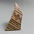 Terracotta sherd from a vessel with horizontal bands and cross-hatched diamond pattern MET DP21549.jpg