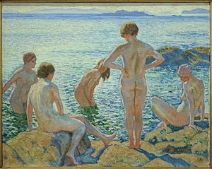 "Mu.ZEE - ""Bathing women"" (ca. 1920) by Théo van Rysselberghe"