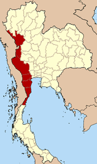 Western Thailand - Western Thailand according to the six-region grouping system