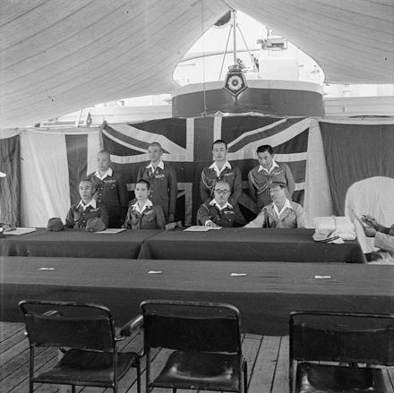 Japanese prepare to discuss surrender terms with British-allied forces in Java 1945 The Allied Occupation of Java, 1945 SE4857.jpg