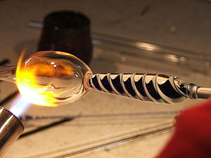 Viscous liquid - Glassblowing is done at about the working point.