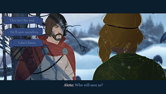 Dialogue tree - A dialogue tree as implemented in the game The Banner Saga: the query from the non-player character appears at the bottom, and three possible player responses at the upper left.