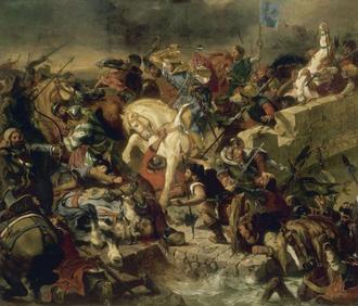 Saintonge War - St. Louis IX at the Battle of Taillebourg, by Eugène Delacroix
