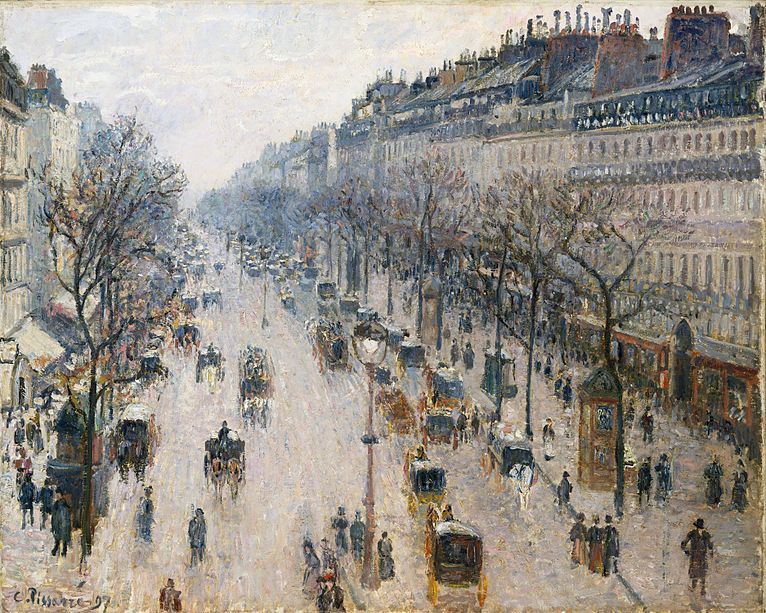 File:The Boulevard Montmartre on a Winter Morning.JPG