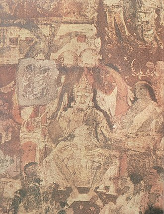 Vanga Kingdom - The coronation of Vanga prince Vijaya as king of Lanka island. Mural in the Ajanta caves, western India