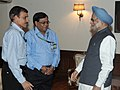 The DRDO team headed by the Scientific Advisor to Raksha Mantri, Secretary, Defence R&D and DG, DRDO, Dr. Vijay Kumar Saraswat calls on the Prime Minister, Dr. Manmohan Singh following successful launch of Agni-V missile.jpg