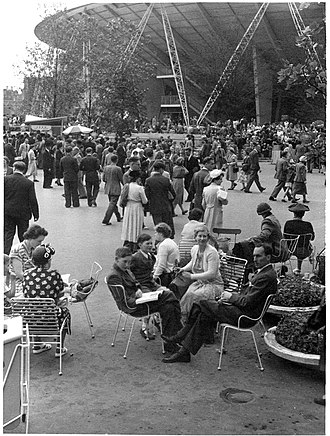 Southbank Centre - Visitors to the Festival of Britain in front of the Dome of Discovery, 1951