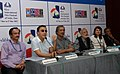 The Film Director, Vidhu Vinod Chopra addressing a press conference, during the 42nd International Film Festival of India (IFFI-2011), in Panaji, Goa. The Director, IFFI, Shri Shankar Mohan, the Film Maker.jpg