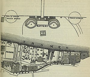 Woolwich Dockyard - The gun battery (shown enlarged) is located just north of the 'Parade'.