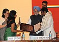 The Prime Minister, Dr. Manmohan Singh presenting the 25th Indira Gandhi National Integration Award to Shri A.R. Rahman, at a function, in New Delhi on October 31, 2010.jpg