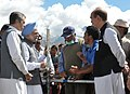 The Prime Minister, Dr Manmohan Singh interacting with the flash flood victims at the relief camp in Choglamsar in Leh, Jammu & Kashmir on August 17, 2010.jpg