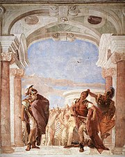 In The Rage of Achilles by Giovanni Battista Tiepolo (1757, Fresco, 300 x 300 cm, Villa Valmarana, Vicenza) Achilles is outraged that Agamemnon would threaten to seize his warprize, Briseis, and he draws his sword to kill Agamemnon. The sudden appearance of the goddess Minerva, who, in this fresco, has grabbed Achilles by the hair, prevents the act of violence.