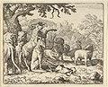 The Ram, Chapelain of the Lion, Gives the Benediction to Renard before His Depature for Rome from Hendrick van Alcmar's Renard The Fox MET DP837722.jpg