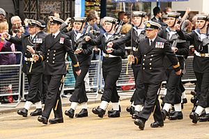 Uniforms of the Royal Navy - Officers, a Chief Petty Officer and Ratings of the Royal Navy on parade in No. 1 dress uniform.