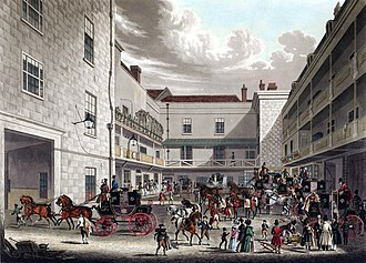 Stage station - Yard of the Swan with Two Necks, Lad Lane, London, 1831