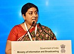 The Union Minister for Textiles and Information & Broadcasting, Smt. Smriti Irani delivering the inaugural address, at the 15th Asia Media Summit, in New Delhi on May 10, 2018.JPG