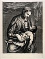 The Virgin Mary adoring Christ as an infant. Line engraving Wellcome V0015066.jpg