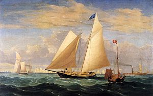 New York Yacht Club - The Yacht 'America' Winning the International Race, 1851, Fitz Henry Lane