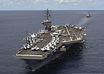 The aircraft carrier USS Nimitz (CVN 68), front, and the guided missile cruiser USS Princeton (CG-59) transit the Indian Ocean June 1, 2013 130601-N-AZ866-758.jpg