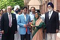 The first winner of an individual Gold Medal for India at the Beijing Olympic Games and International Shooting Ace, Shri Abhinav Bindra meeting with the President, Smt. Pratibha Devisingh Patil, in New Delhi (1).jpg