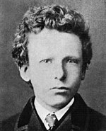 black and white formal headshot photo of the artist as a boy in jacket and tie. He has thick curly hair and very pale-colored eyes with a wary, uneasy expression.