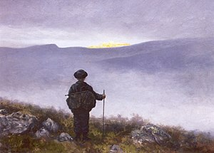 "Quest - ""Soria Moria"" by Theodor Kittelsen:  a hero glimpses the end of his quest."