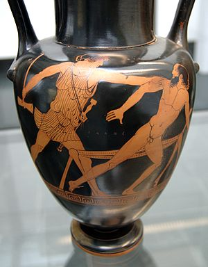 Procrustes - Theseus and Procrustes, Attic red-figure neck-amphora, 570–560 BC, Staatliche Antikensammlungen (Inv. 2325)