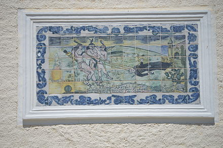 Tile mural on the San Jose del Cabo church depicting the martyrdom of Father Nicolas Tamaral TileMuralSanJosedelCaboChurch03.JPG