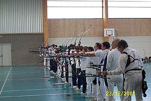 Target archery - An indoor archery competition.