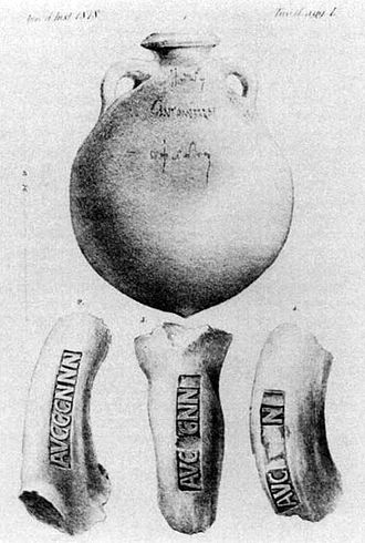 Brand - Amphorae bearing a titulus pictus and potters' stamps, found at Monte Testaccio