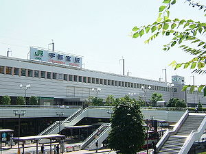 Utsunomiya Station - Station and the connecting pedestrian walkway