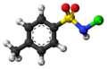 Tosylchloramide molecule ball.png