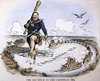 """refers to U.S. President Theodore Roosevelt's foreign policy: """"speak softly, and carry a big stick, you will go far!"""""""