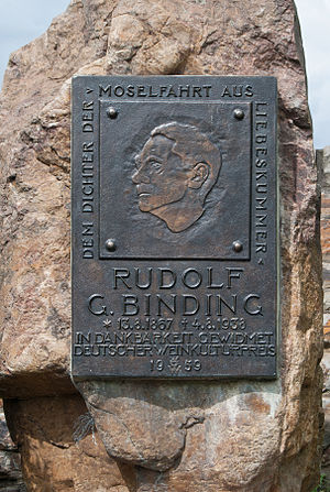 Rudolf G. Binding - Plaque at a Rudolf G. Binding memorial in Traben-Trarbach