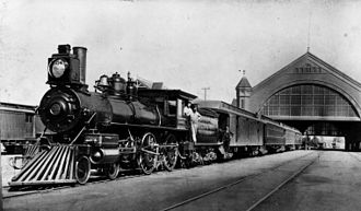 History of Los Angeles - Train at the Southern Pacific Railroad's Arcade Depot station, 1891