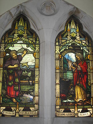 Parable of the Hidden Treasure - A depiction of this parable (left) paired with that of the pearl (right) on a stained glass window in Scots' Church, Melbourne.