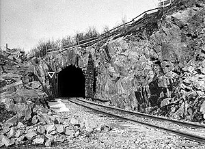 Underground hospital - The rail entrance to the complex at Södersjukhuset, 1940s.