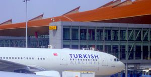 Turkish Airlines with Star Alliance logo at PEK
